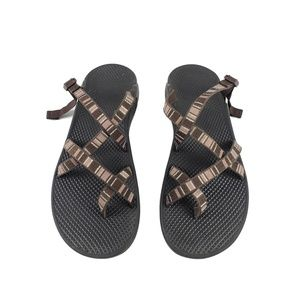 Chaco Sz 7.5 Brown Striped Sandals